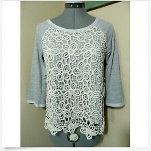 FOREVER 21 Eyelet Lace Terry Top S Gray Floral SS